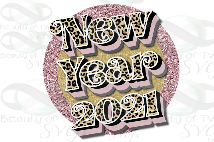 New Year Cheetah png, New Year 2021 Retro Sublimation Design example image 1