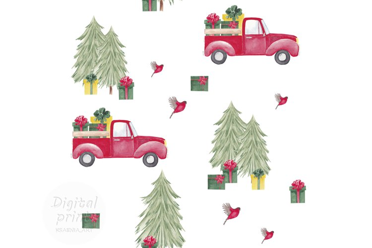 Farm fresh christmas trees digital paper Red old car pattern example image 1