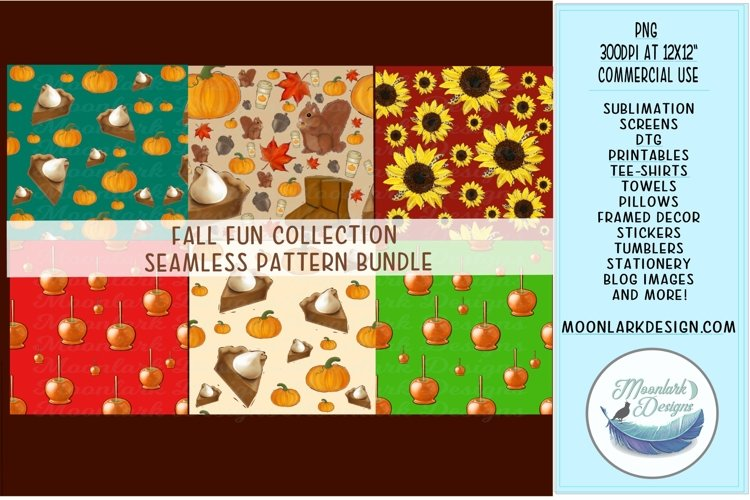 Fall seamless pattern digital paper bundle, autumn png example image 1