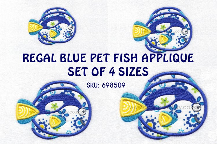 Regal Blue Pet Fish Applique Machine Embroidery Design