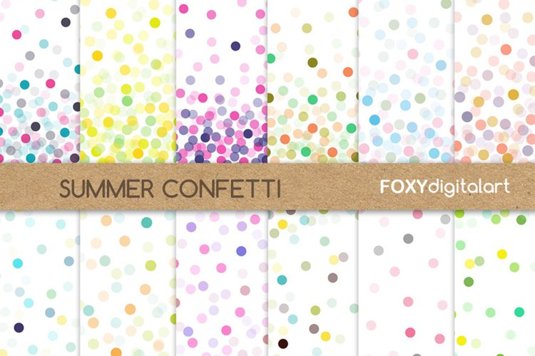 Confetti Digital Paper Set Throw Some Confetti Wedding example image 1