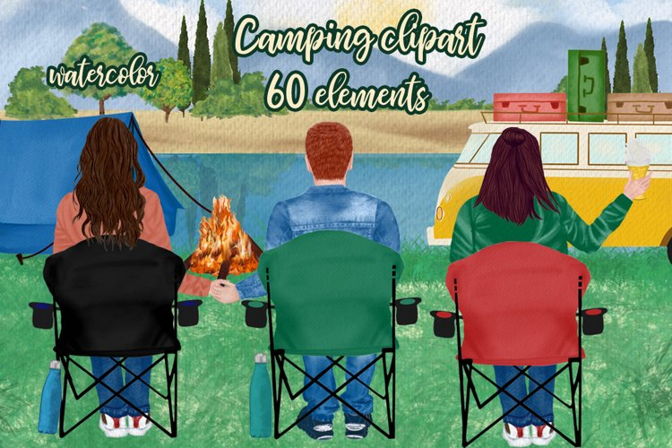 Camping clipart Camping Chairs Best friends camping Old Van