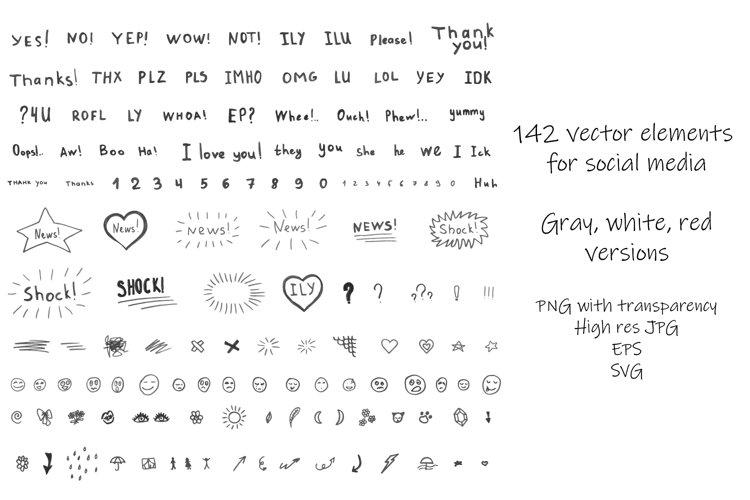142 social media vector elements