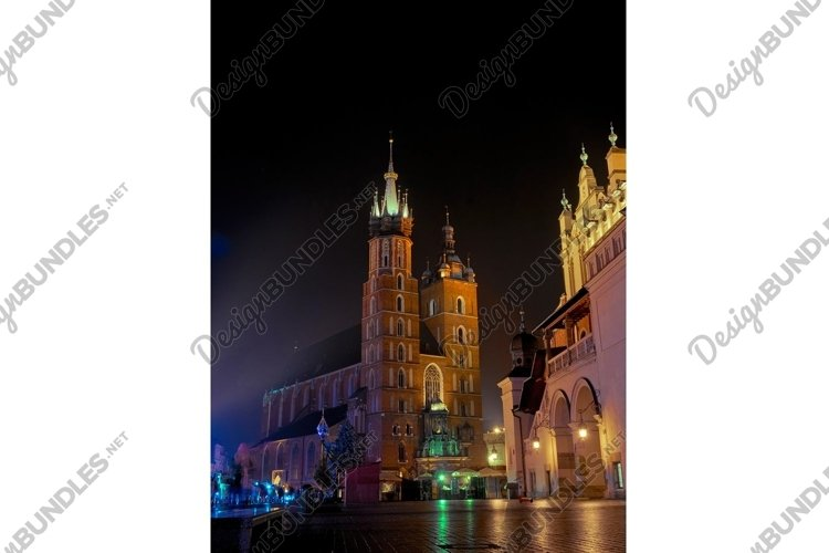 Night panorama of the ancient market square in Krakow example image 1