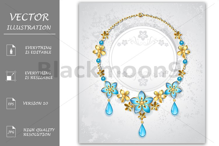 Necklace with Gold Flowers example image 1