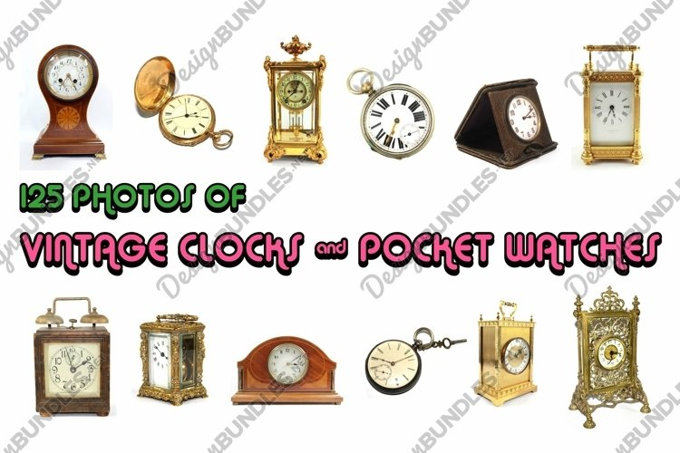 125 Photographs of Vintage Antique Clocks and Pocket Watches