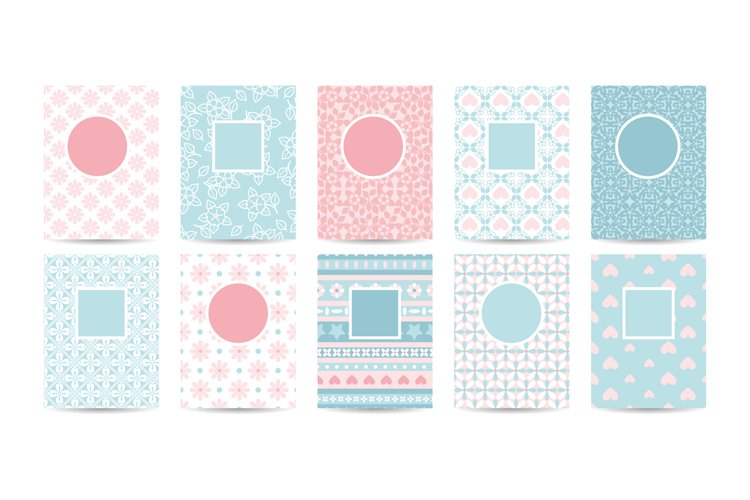 Romantic card templates with pink patterns example image 1