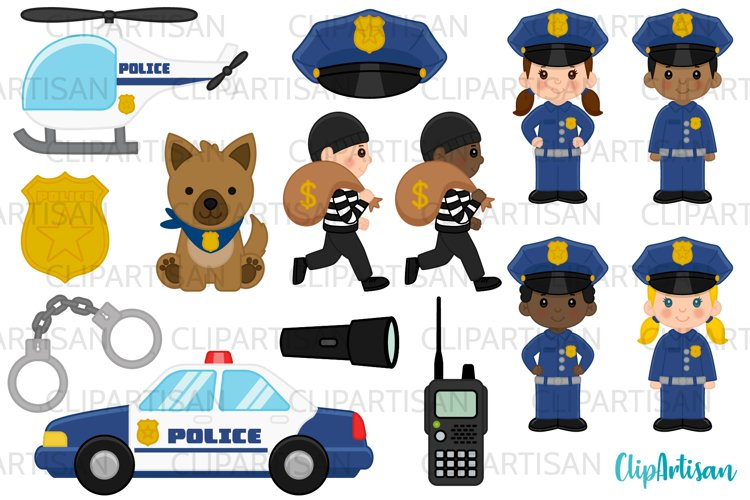 Cops Clipart, Police Officer Clip Art, Community Helpers example image 1