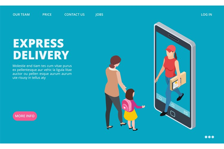 Express delivery isometric. Vector fast delivery landing pag example image 1