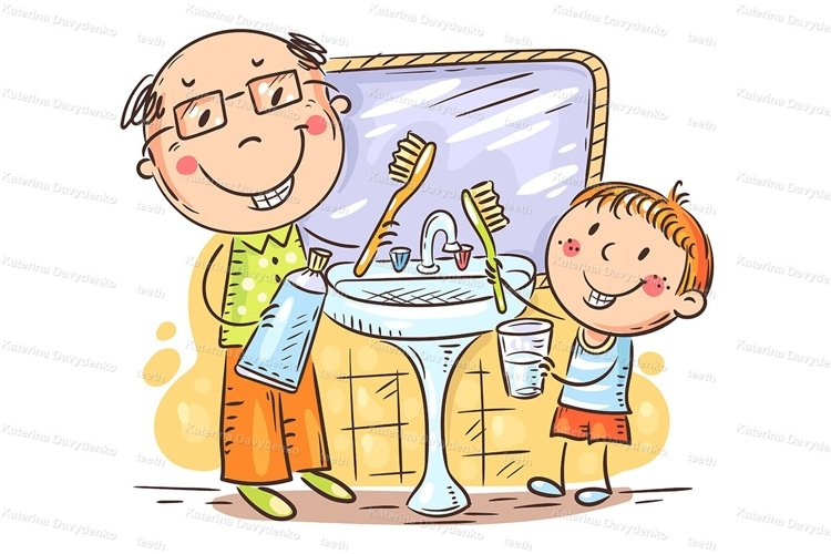 Father shows kid how to brush teeth correctly example image 1