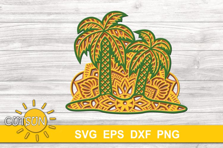 3D Layered Palm Trees 4 layers | 3D layered svg