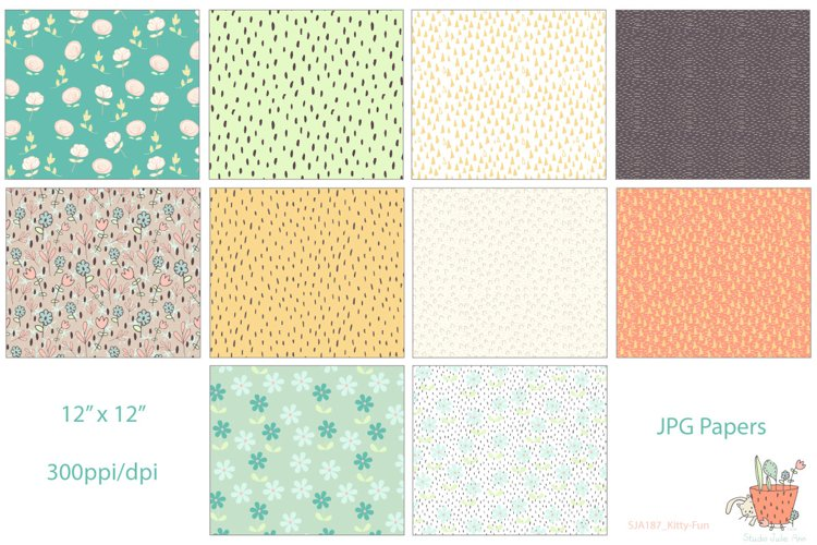Kitty Fun Vector Swatches Patterns - Free Design of The Week Design2