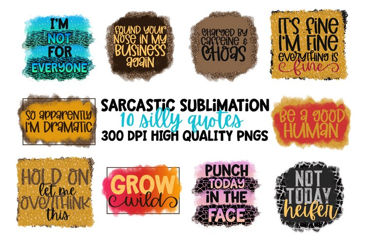 10 Sublimation Sarcastic Quotes - High Quality PNG Files