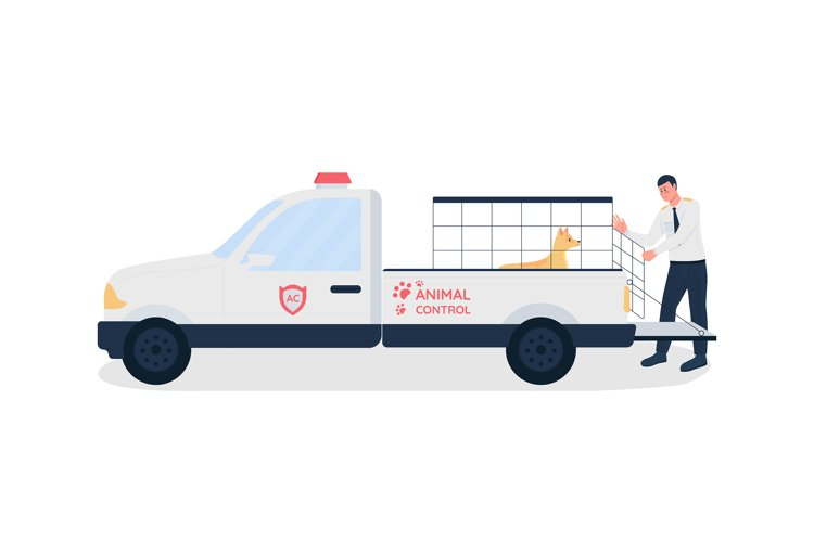 Animal control worker flat color vector faceless character
