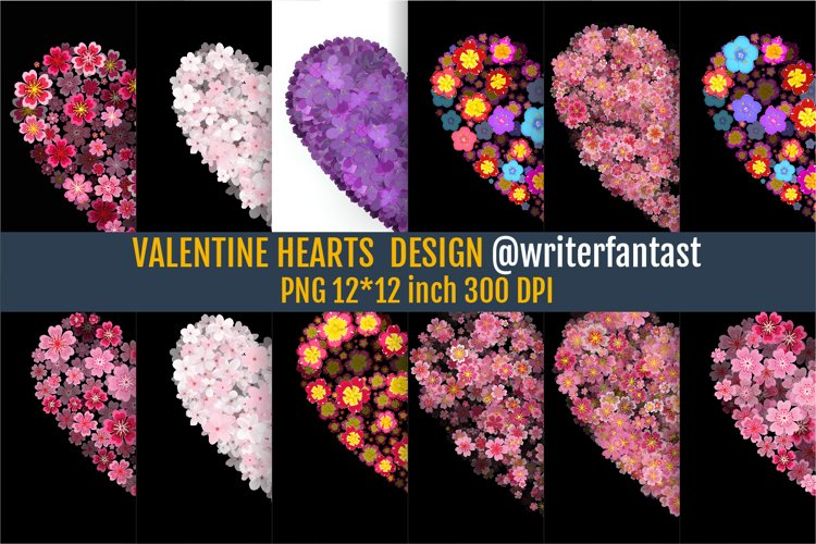 Love Valentines Day Sublimations, Flower Hearts PNG example image 1