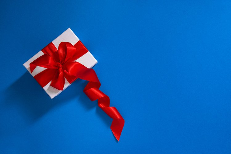 Gift box with red ribbon bow Gift card concept example image 1