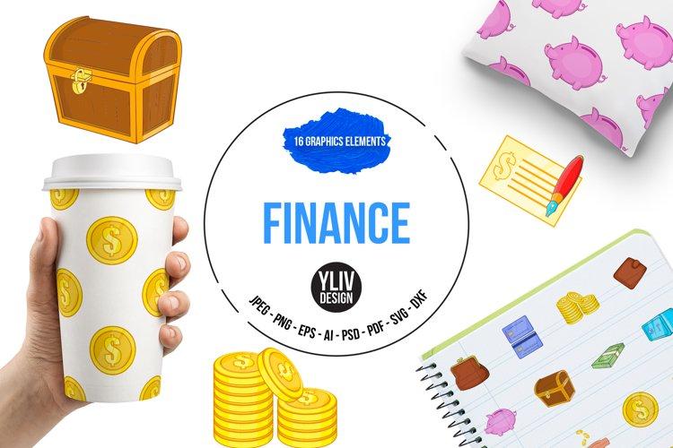 Finance icons set, cartoon style example