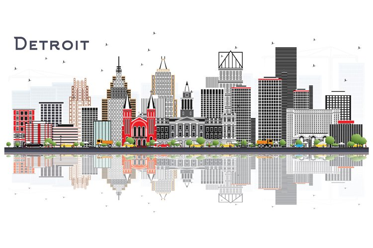 Detroit Michigan City Skyline with Gray Buildings example image 1