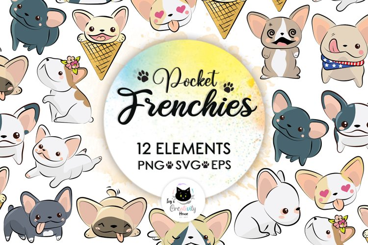 Frenchie, Dog Svg, French Bulldog Svg, Kawaii Svg, Puppy example image 1