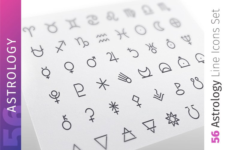 Astrology Line Icons Set example image 1