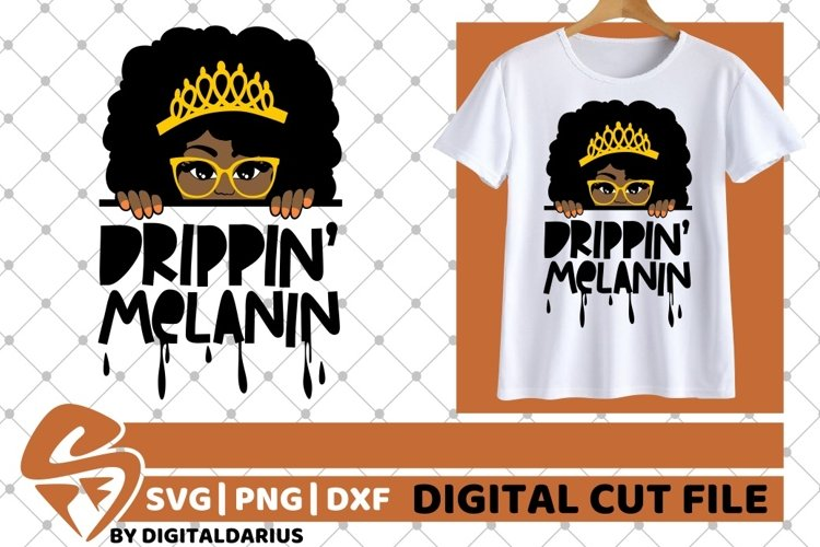 Drippin Melanin svg, Afro svg, Black Woman svg, Peek A Boo example image 1