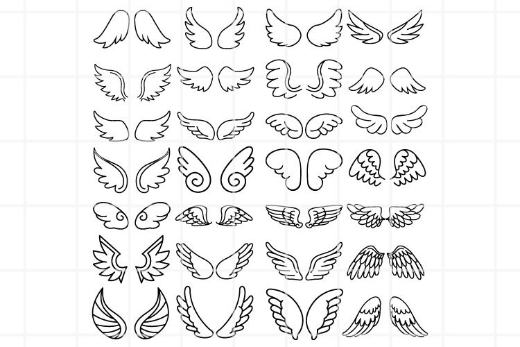 Angel Wings SVG set for cut. Wings cutting files.