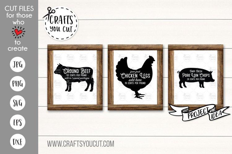 Beef, Chicken, Pork - A Farmhouse Kitchen SVG Cut File Set