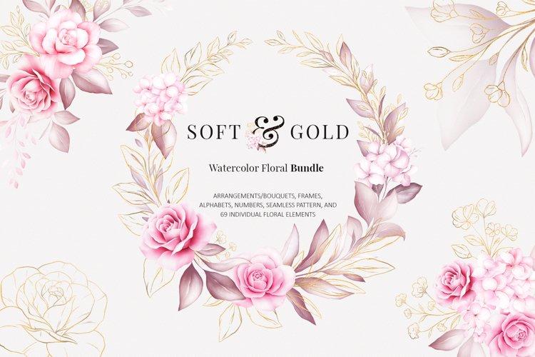 Watercolor Flowers Soft & Gold Clipart Bundle
