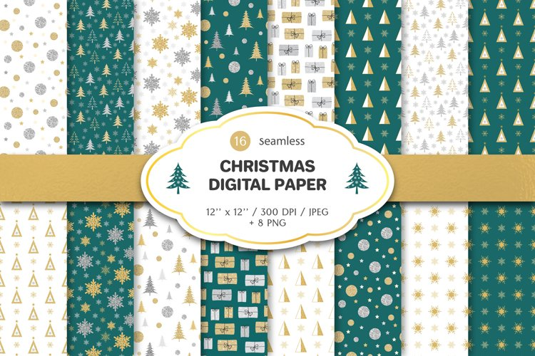 Christmas glitter digital paper pattern set || bundle example image 1