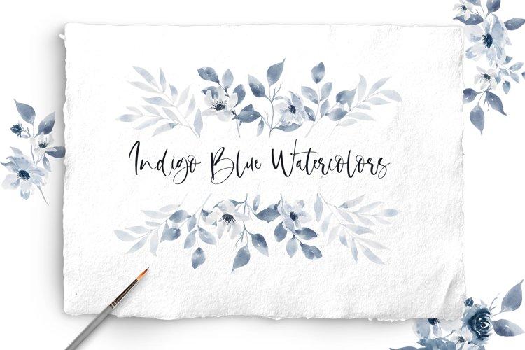 Indigo Blue Watercolor Floral Bundle