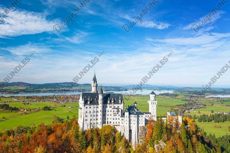 Neuschwanstein Castle Germany. Autumn landscape example image 1