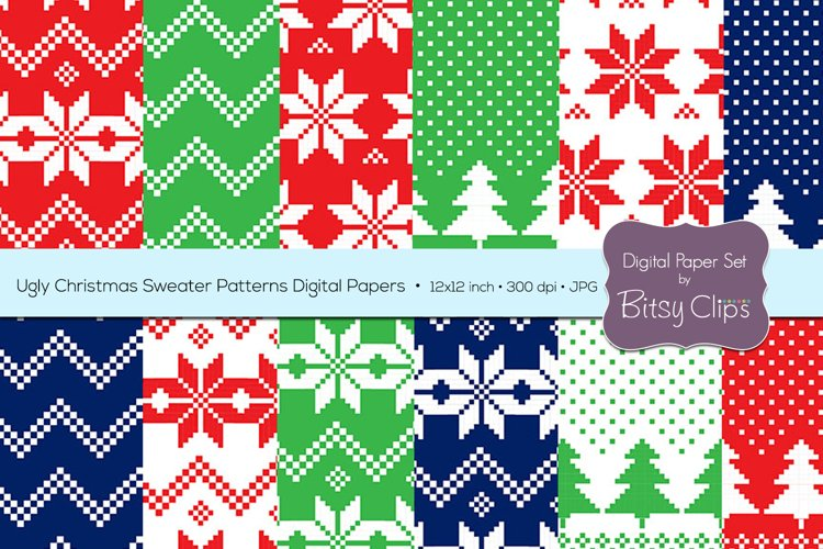 Ugly Christmas Sweater Patterns Digital Paper Set Commercial Use Christmas Scrapbook Paper Background Pattern example image 1