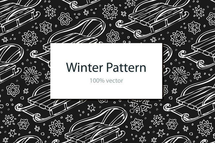 Winter pattern with sledge example image 1