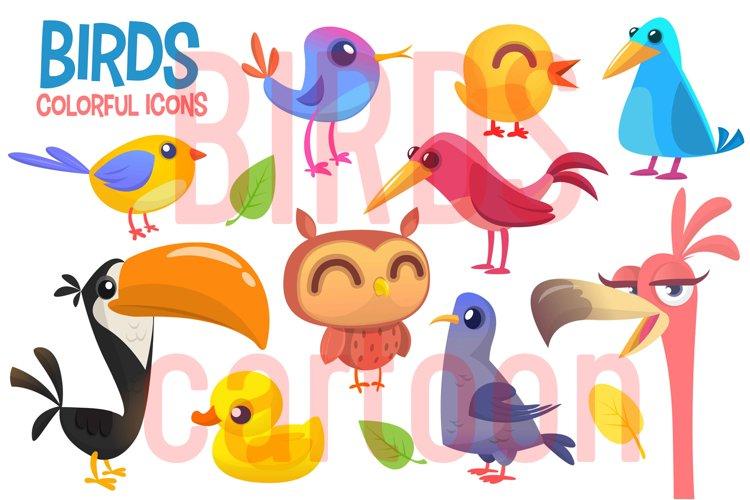 Cartoon birds illustrations. Vector pack