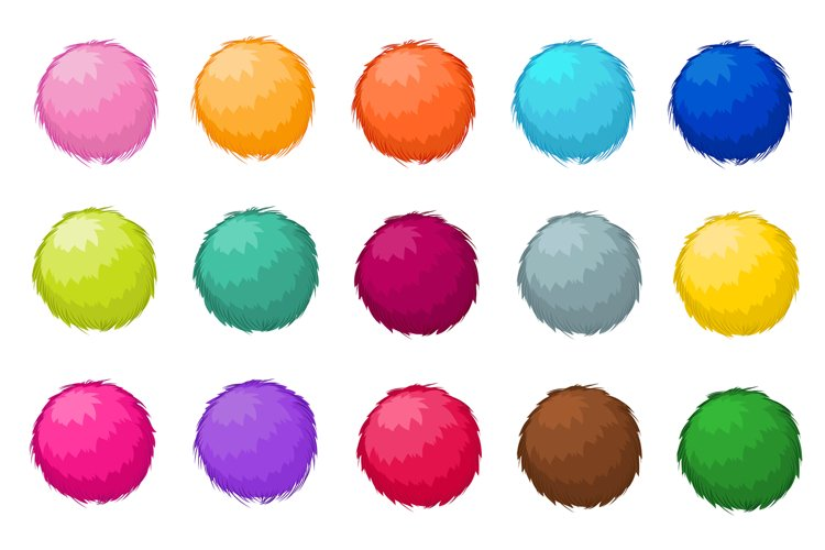 Colorful fluffy pompom fur balls isolated vector set example image 1