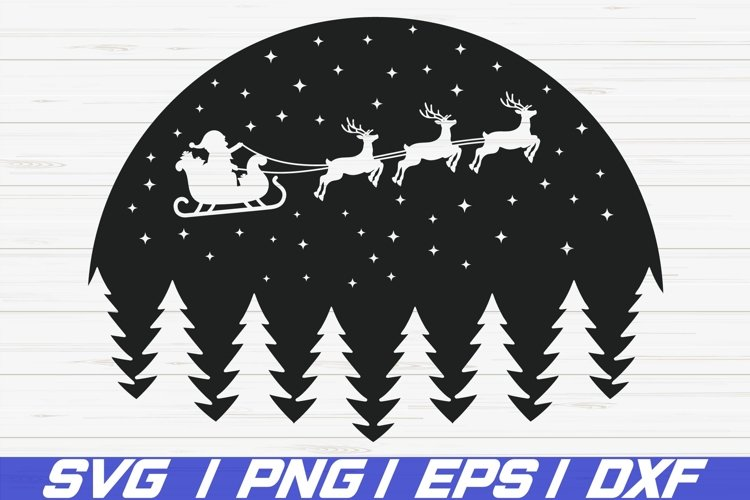 Christmas Scene With Santa SVG / Christmas SVG / Cricut example image 1