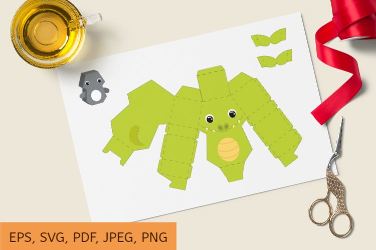 Cute Gift Package Crocodile Template SVG, Gift Box SVG example image 1