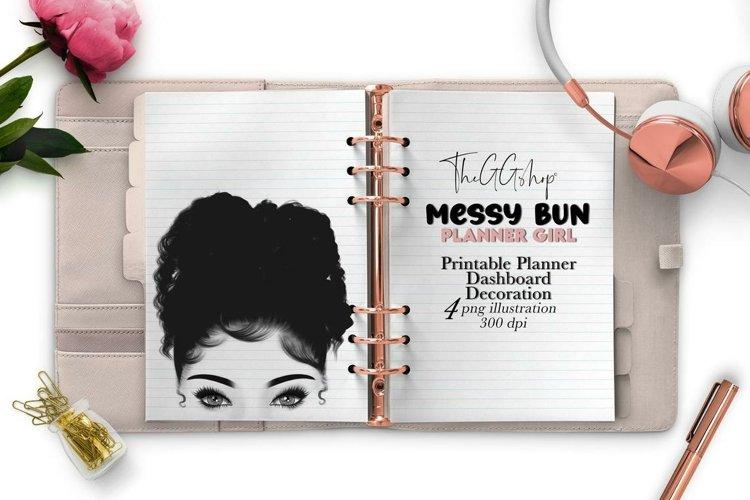 Messy Bun Planner Girl Clipart