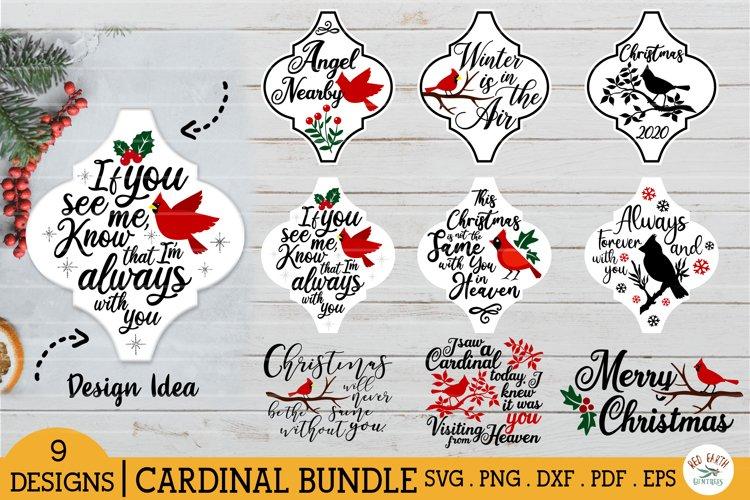 Arabesque Cardinal Christmas tile ornament bundle SVG,quotes