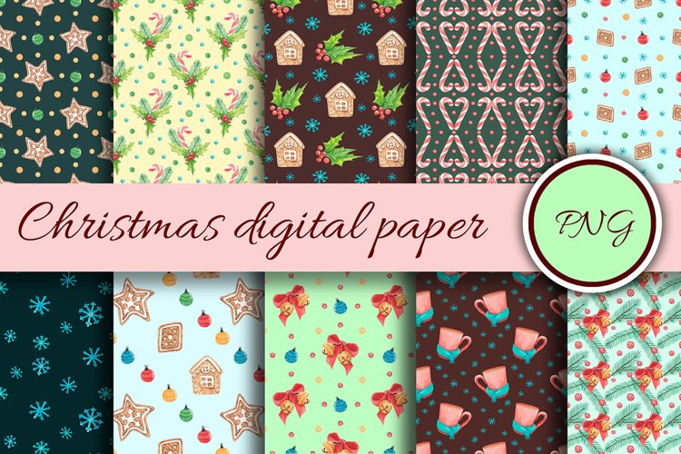 New Years digital paper. Watercolor print with christmas
