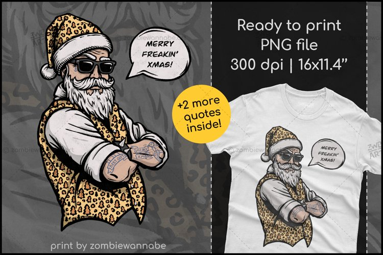 Cool Santa in Leopard, Christmas Sublimation T-Shirt Design example image 1