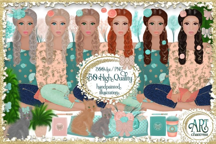 Summer planner clipart,Fashion girl,digital planner DIY, PNG