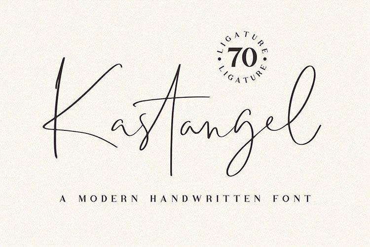 Kastangel - Handwritten script font example image 1