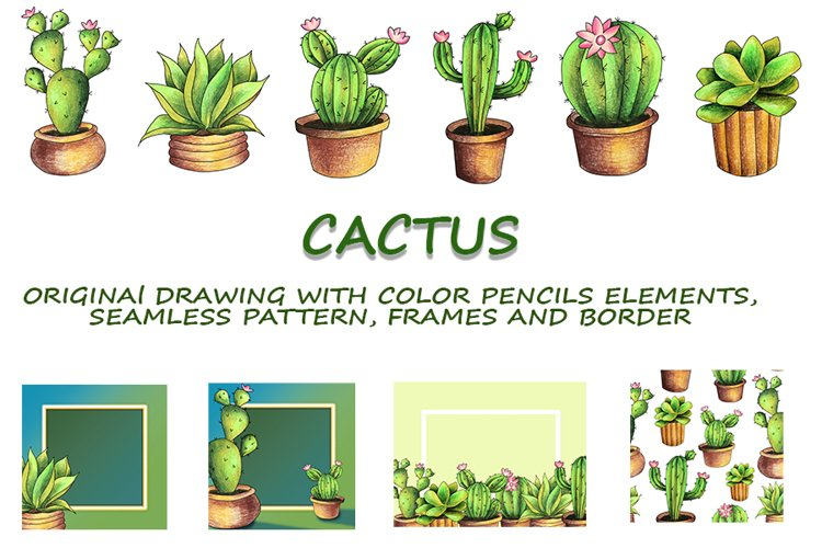 CACTI. ORIGINAl DRAWING WITH COLOR PENCILS ELEMENTS. example image 1