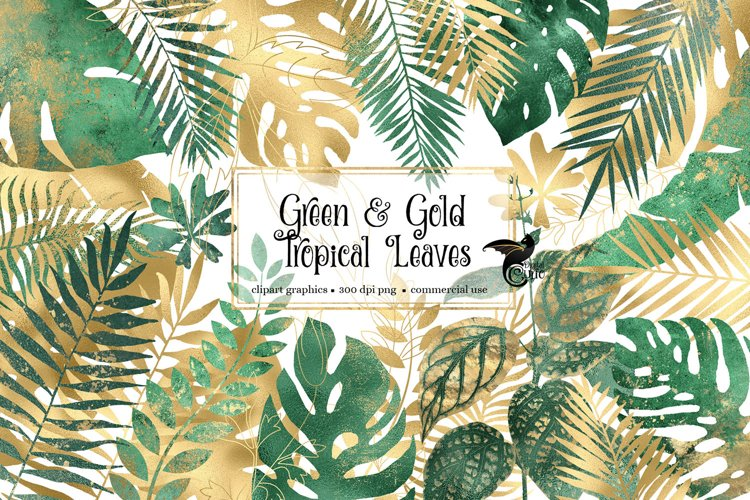 Green and Gold Tropical Leaves Clipart