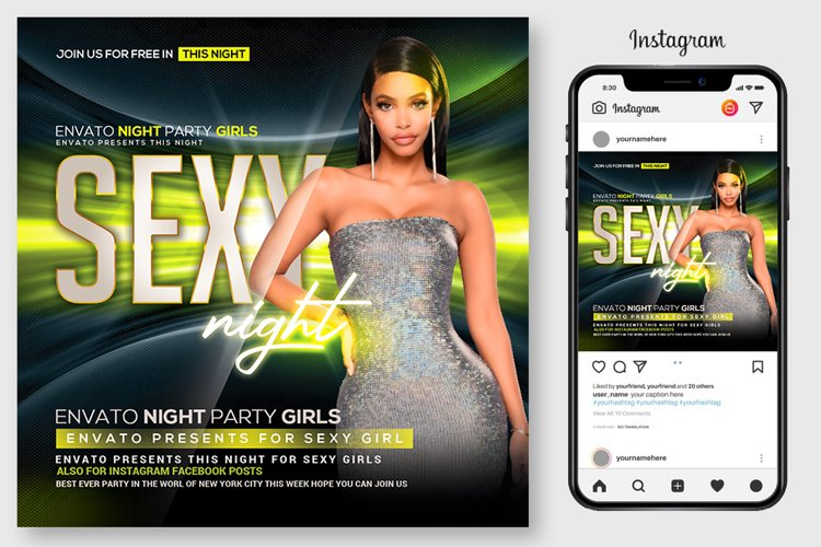 Glow Party Flyer Template example image 1