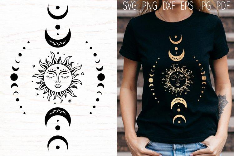 Sun and moon, sun svg cut file, boho svg, celestial svg