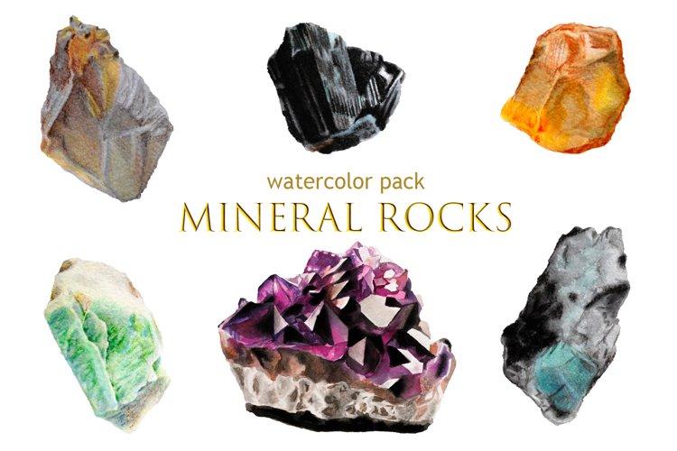 Watercolor Pack Mineral Rocks