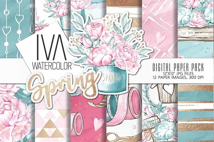 Spring Digital Paper Pack,Floral Digital Art example image 1