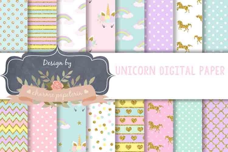 Unicorn Digital Paper, Rainbow, Gold, Glitter, hearts example image 1